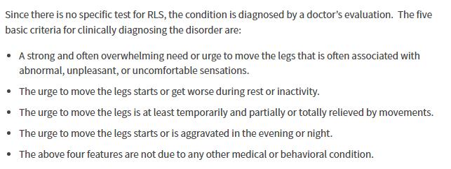 list of diagnostics for Restless Leg Syndrome